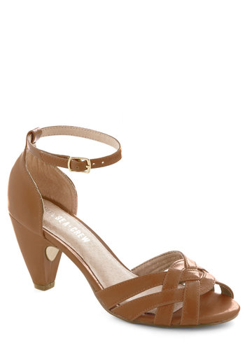 How Could You Not? Heel in Sienna by Chelsea Crew - Tan, Solid, Cutout, Woven, Mid, Work, Vintage Inspired, 40s, Variation, Leather