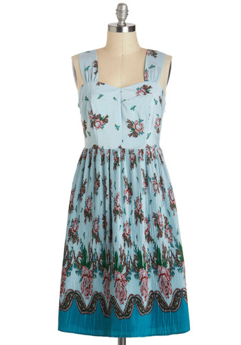 Arose Early Dress - Blue, Multi, Floral, Vintage Inspired, A-line, Long, Pleats, Tank top (2 thick straps), Sweetheart, Daytime Party