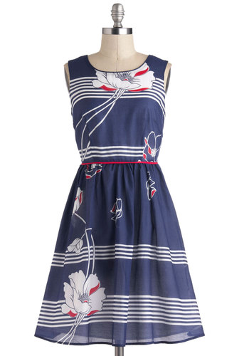 Dream Galley Dress - Blue, White, Stripes, Floral, Casual, Vintage Inspired, A-line, Sleeveless, Spring, Mid-length, Red, Nautical, Summer