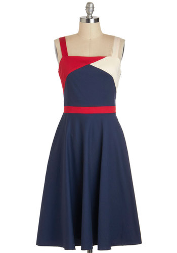 Flag Down Your Ride Dress - Blue, Red, Casual, Nautical, Vintage Inspired, A-line, Long, Pockets, Tank top (2 thick straps), White, Colorblocking