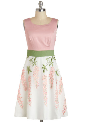 Intro to Organza Chemistry Dress - Pink, Green, White, Embroidery, Vintage Inspired, A-line, Sleeveless, Spring, Mid-length, Cotton, Floral, Daytime Party, Graduation, Mid-Century
