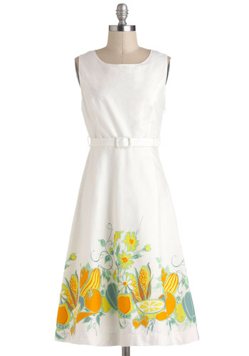 Farm to Tablescapes Dress - White, Orange, Yellow, Novelty Print, Vintage Inspired, A-line, Sleeveless, Spring, Belted, Cotton, Long, Green, Fruits, Graduation, Daytime Party