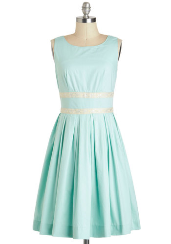 Convivial Pursuit Dress - Blue, Solid, Pleats, Vintage Inspired, 50s, A-line, Sleeveless, Spring, Fit & Flare, Cotton, Long, Tan / Cream, Silver, Daytime Party, Wedding, Bridesmaid, Graduation