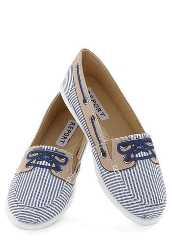 Faux-fer Flat in Stripes - Blue, White, Tan / Cream, Stripes, Novelty Print, Flat, Quirky, Casual, Nautical, Menswear Inspired, Variation, Travel