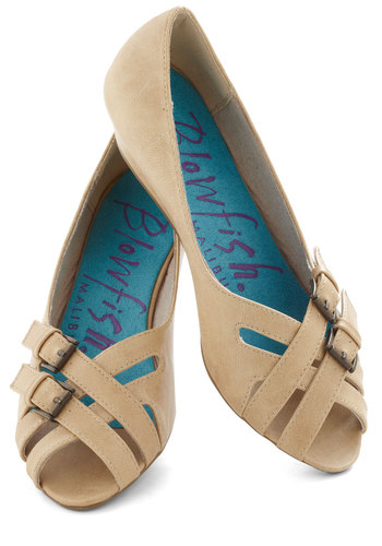 Beaches and Cream Wedge - Tan, Solid, Buckles, Low, Wedge, Peep Toe, Cutout, Variation, Nautical, Summer