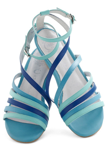 Under Blue Skies Wedge by Jeffrey Campbell - Blue, Solid, Low, Wedge, Leather, Casual, Beach/Resort