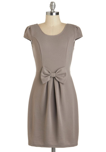 Statue Park Dress - Short, Solid, Bows, Cap Sleeves, Grey, Pleats, Work, Shift