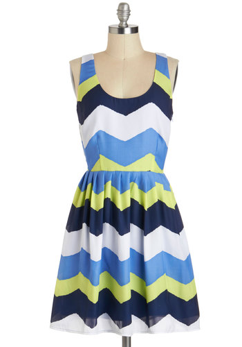 Chillin' in Chi-town Dress by Jack by BB Dakota - Mid-length, Green, Blue, White, Stripes, Casual, A-line, Tank top (2 thick straps), Colorblocking, Chevron, Scoop, Daytime Party