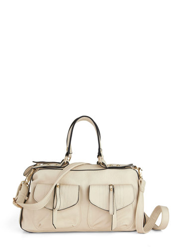 Throw It in Neutral Bag - Cream, Solid, Exposed zipper, Pockets