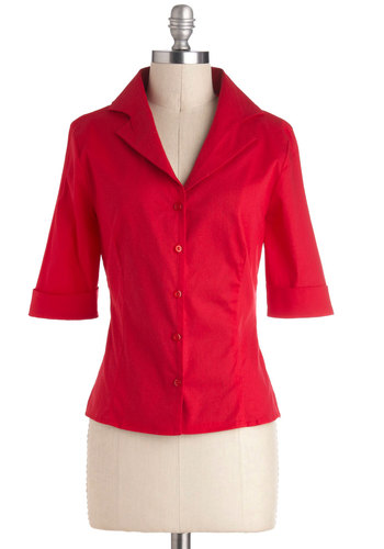 The Business of Baking Top - Cotton, Red, Solid, Buttons, Work, 3/4 Sleeve, Mid-length, Exclusives