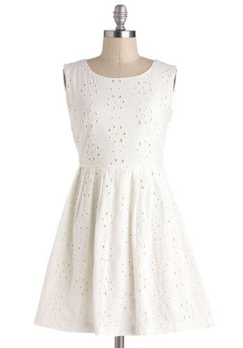 Passing Glances Dress - Cream, Solid, Eyelet, Casual, A-line, Sleeveless, Cotton, Short, Pearls, Cutout, Graduation