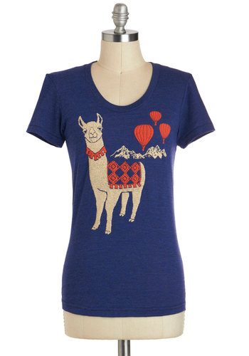 Llama Queen Tee - Jersey, Mid-length, Blue, Casual, Short Sleeves, Print with Animals, Crew, Novelty Print, Travel, Better, Best Seller, Blue, Short Sleeve