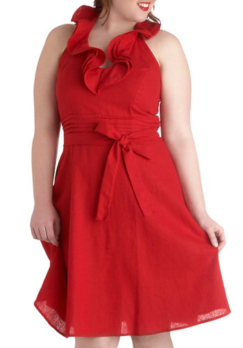 Red Sky At Night Dress in Plus Size - Red, Solid, Bows, Ruffles, Party, A-line, Halter, Vintage Inspired, Wedding, Nautical, Summer, Bridesmaid
