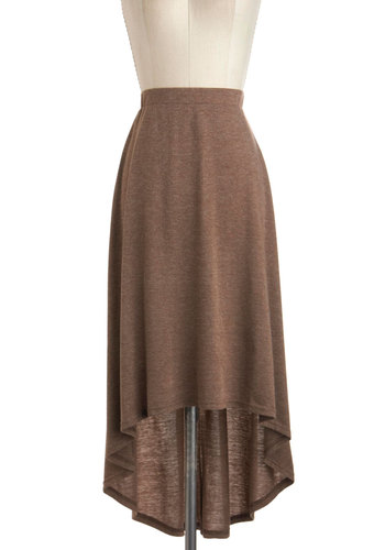 Afternoon Coffee Break Skirt - Jersey, Mid-length, Brown, Solid, Casual, High-Low Hem, Minimal, Travel, Maxi