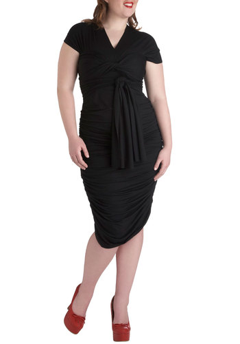 Swish It Up Ruched Dress in Black - Plus Size by Monif C - Black, Solid, Party, Girls Night Out, Pinup, Bodycon / Bandage, Wrap, Short Sleeves, Ruching