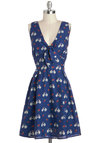 Cycle to See Dress by Yumi - Cotton, Mid-length, Blue, Red, Novelty Print, Bows, Casual, A-line, Sleeveless, V Neck, White