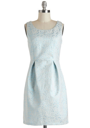Royally Radiant Dress by Yumi - Blue, Floral, Bows, Cutout, Sheath / Shift, Sleeveless, Cocktail, Mid-length, Pleats, Wedding, Vintage Inspired, Graduation, Bridesmaid