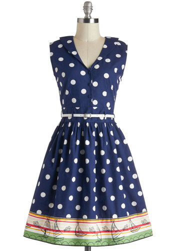 Style in Your Sails Dress by Yumi - Blue, White, Multi, Polka Dots, Casual, Vintage Inspired, A-line, Sleeveless, Spring, Belted, Cotton, Mid-length, Buttons, Nautical, Collared