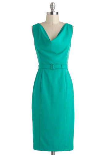 Networking for Me Dress - Long, Green, Solid, Belted, Work, Shift, Sleeveless, Cowl, Vintage Inspired