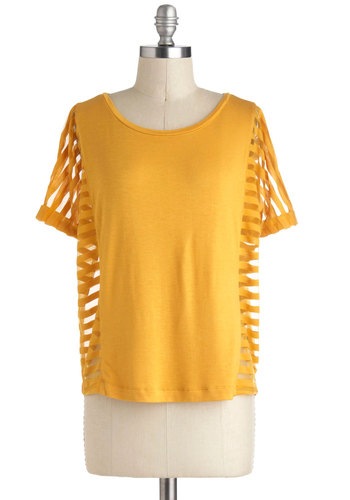 Rays of Our Lives Top by Jack by BB Dakota - Yellow, Solid, Casual, Short Sleeves, Mid-length, Cutout, Vintage Inspired, 80s, Summer
