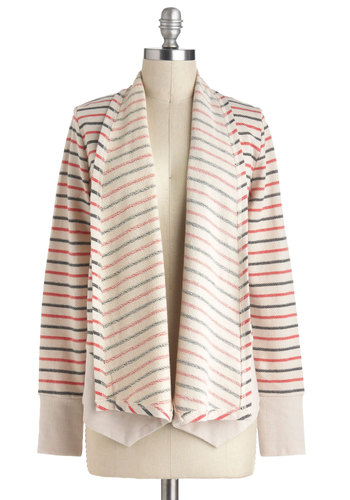 Cuddle Together Cardigan by Jack by BB Dakota - White, Red, Blue, Stripes, Casual, Long Sleeve, Cotton, Mid-length, Winter, Travel