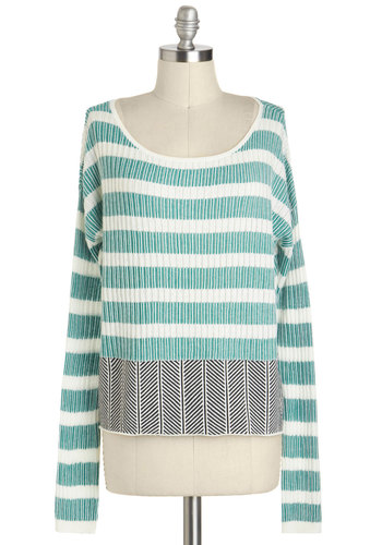 The Nature of the City Sweater by Jack by BB Dakota - Multi, Green, Black, White, Stripes, Casual, Long Sleeve, Cotton, Short, Pastel, Travel