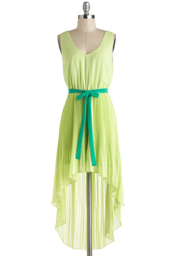 Neons A Glow Dress - Green, Solid, Casual, Boho, High-Low Hem, Sleeveless, Short, Cutout, Belted, Neon, A-line, V Neck, Pleats