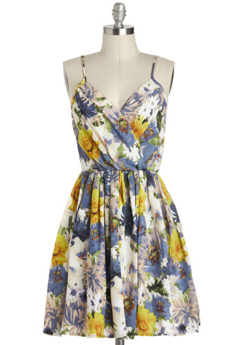 Toasting the Coast Dress by Jack by BB Dakota - Mid-length, Multi, Yellow, Green, Purple, White, Floral, Pleats, Casual, A-line, Spaghetti Straps, V Neck