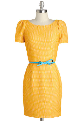 Pop of Pigment Dress - Yellow, Solid, Belted, Work, Vintage Inspired, Sheath / Shift, Short Sleeves, Short, Blue