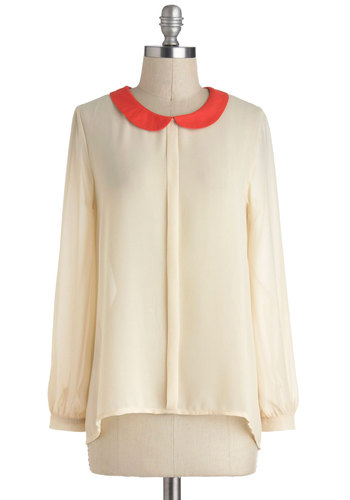 First Class Cabin Top in Cream - Sheer, Mid-length, Cream, Red, Solid, Buttons, Peter Pan Collar, Work, Long Sleeve, Collared