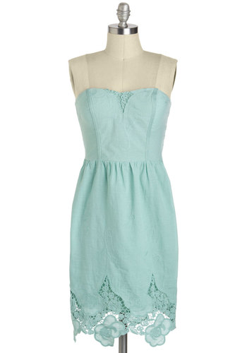 You and Sky Dress - Cotton, Short, Blue, Solid, Lace, Daytime Party, Pastel, Shift, Strapless, Sweetheart, Graduation