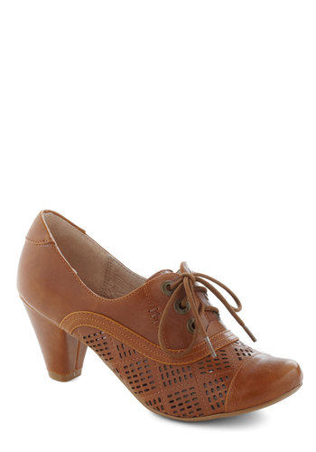Quilting Class Heel in Chestnut by Chelsea Crew - Mid, Tan, Solid, Cutout, Vintage Inspired, 20s, 30s, Lace Up, Variation, Leather, Winter