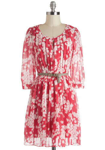 Shortcake and Sweet Dress - Chiffon, Sheer, Mid-length, White, Floral, Pleats, Belted, A-line, 3/4 Sleeve, Pink, Daytime Party