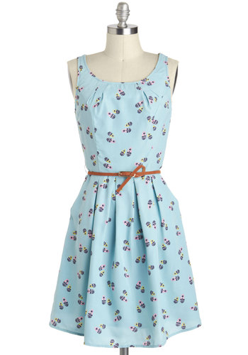 That's Doll, Folks Dress - Mid-length, Blue, Multi, Novelty Print, Pleats, Pockets, Belted, Casual, A-line, Tank top (2 thick straps), Pastel, Spring, Fit & Flare