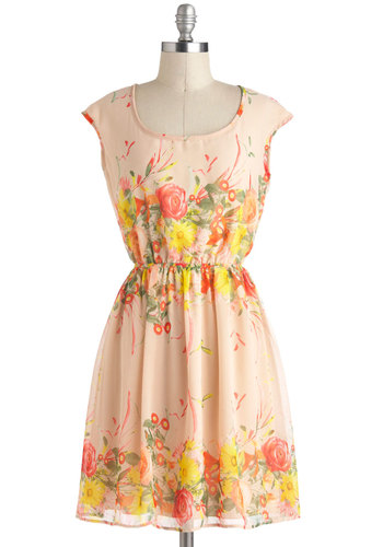 Harmonious Arrangement Dress - Sheer, Mid-length, Yellow, Green, Coral, Floral, Backless, Casual, A-line, Cap Sleeves, Orange, Graduation