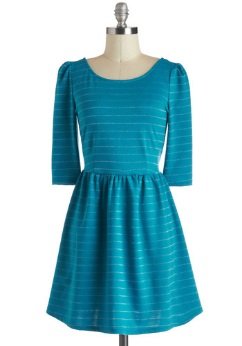 Teal Tuesday Dress - Short, Blue, Silver, Stripes, Casual, A-line, 3/4 Sleeve