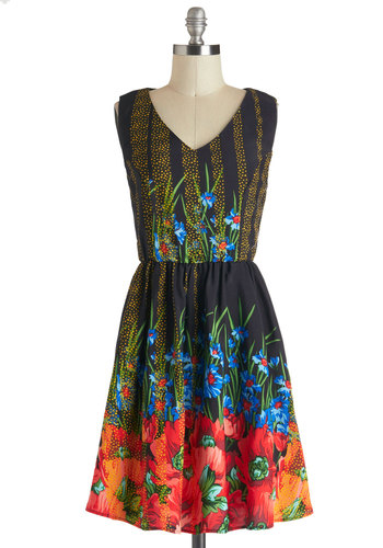 Mesmeric Midnight Dress - Mid-length, Red, Orange, Yellow, Green, Blue, Floral, Casual, A-line, Sleeveless, V Neck, Fit & Flare, Multi, Black