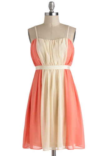 Practice What You Peach Dress - Chiffon, Mid-length, Cream, Coral, Pleats, Belted, Daytime Party, A-line, Spaghetti Straps, Sweetheart, Wedding, Pastel, Bridesmaid