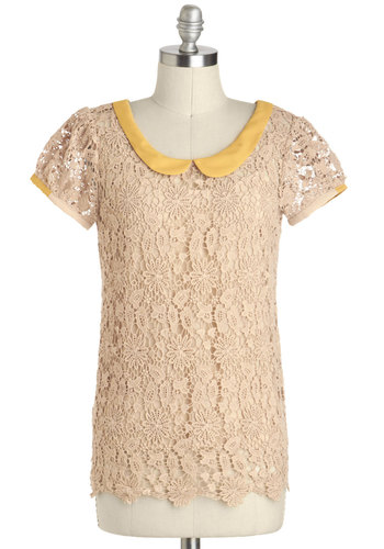 Sugar and Honey Top - Sheer, Mid-length, Cotton, Cream, Yellow, Buttons, Crochet, Peter Pan Collar, Work, Vintage Inspired, Short Sleeves, Collared