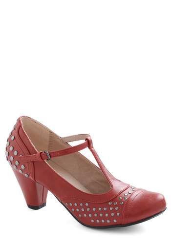 Best Day Job Ever Heel by Chelsea Crew - Mid, Leather, Red, Studs, Vintage Inspired, 20s, 30s, Solid, Cutout