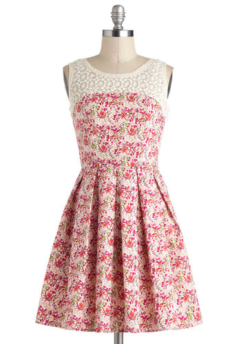 I Lily Like You Dress - Mid-length, Multi, Red, Green, White, Floral, Crochet, Pleats, Daytime Party, Fit & Flare, Pink, Sleeveless, Graduation