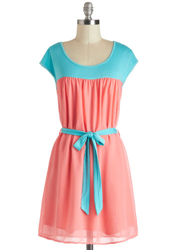 Daily Double-Take Dress - Mid-length, Blue, Belted, Casual, Colorblocking, A-line, Cap Sleeves, Coral, Exclusives, Summer