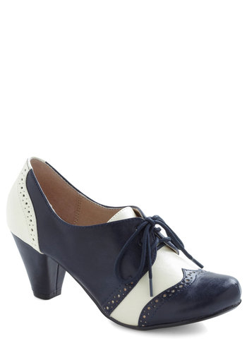 Jazz Standard Heel by Chelsea Crew - Mid, Leather, Blue, White, Menswear Inspired, Vintage Inspired, 20s, 30s, Lace Up, Solid, Cutout