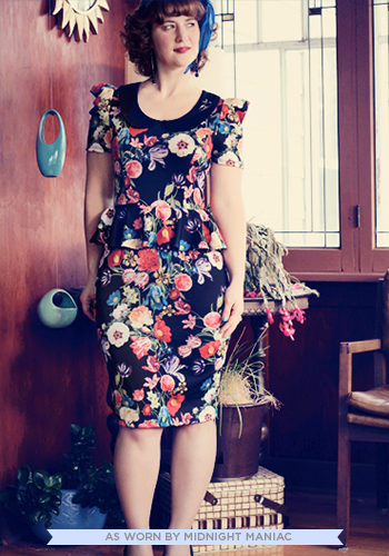 Work with Me Dress in Floral - Long, Multi, Red, Orange, Yellow, Green, Blue, Purple, Black, Floral, Peter Pan Collar, Work, Peplum, Ruffles, Vintage Inspired, 40s, Short Sleeves, Exclusives, Collared, 80s
