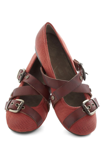 Strappy Hour Flat in Red - Solid, Buckles, Red, Flat, Leather, Brown, Casual, Variation