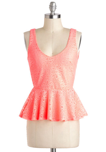 Neon to Something Good Top - Short, Coral, Crochet, Daytime Party, Neon, Peplum, Sleeveless, Beach/Resort, Summer