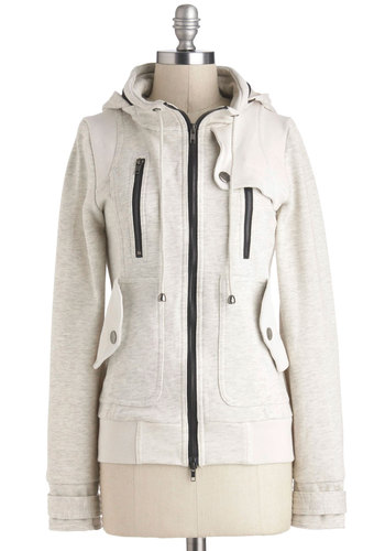 Leipzig Hoodie in Oatmeal - Cream, Solid, Exposed zipper, Pockets, Long Sleeve, Hoodie, Mid-length, 2, Casual, Exclusives, Variation