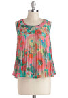 Isn't Sheer Lovely? Top by BB Dakota - Pink, Orange, Green, Blue, Floral, Pleats, Sleeveless, Sheer, Mid-length, Summer