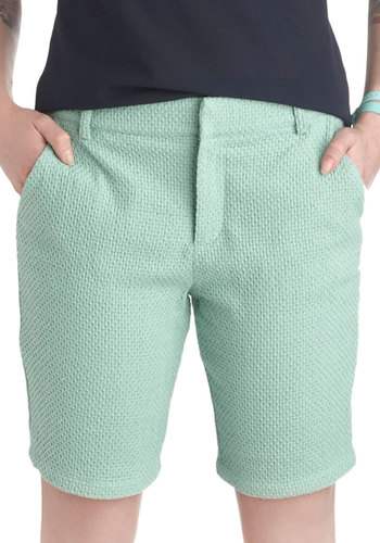Cruise Ship Clues Shorts - Cotton, Mint, Solid, Pockets, Beach/Resort, Pastel, Summer, Travel, High Waist