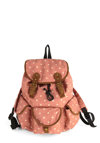 Pack in the Groove Bag - Pink, Tan / Cream, Polka Dots, Trim, Scholastic/Collegiate, Pockets, Travel, Summer